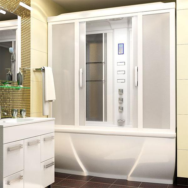 Душевая кабина Тритон Омега в бежевой ванной комнате