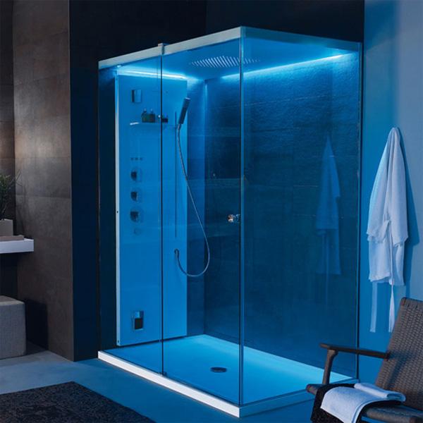 Голубая подсветка для ванной комнаты