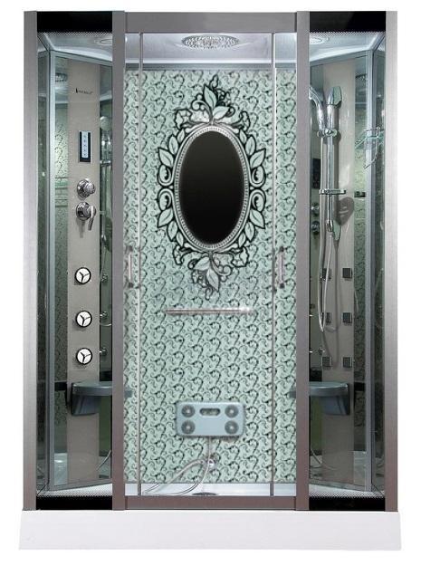 Душевая кабина Ривер с узорчатым зеркалом
