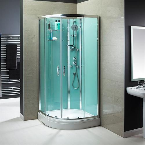 Бирюзовый душ для ванной комнаты серо-черного цвета