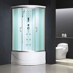 Белая душевая кабина для серой ванной комнаты