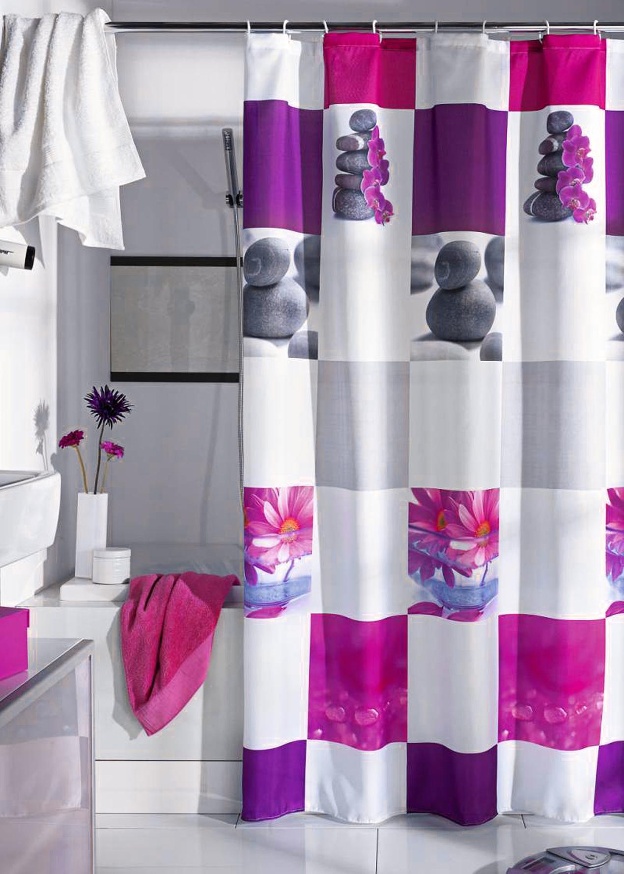 Шторки для ванной комнаты белого цвета с цветами и камнями