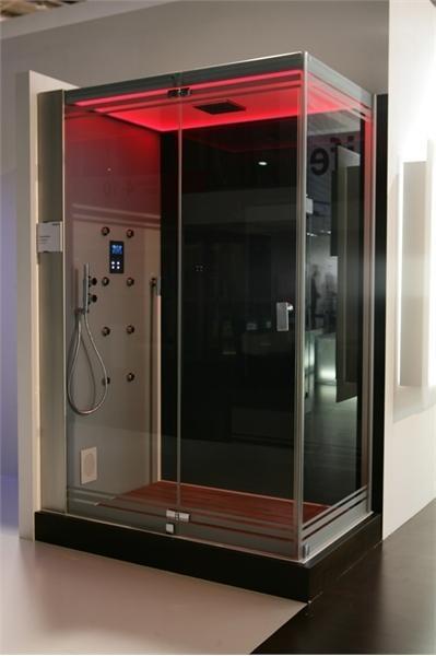 Черно-красная душевая кабина прямоугольной формы