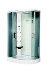 Душ раздвижными дверями из зеленого стекла