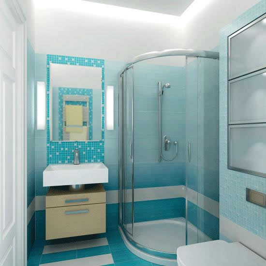 Оформление ванной комнаты голубого цвета