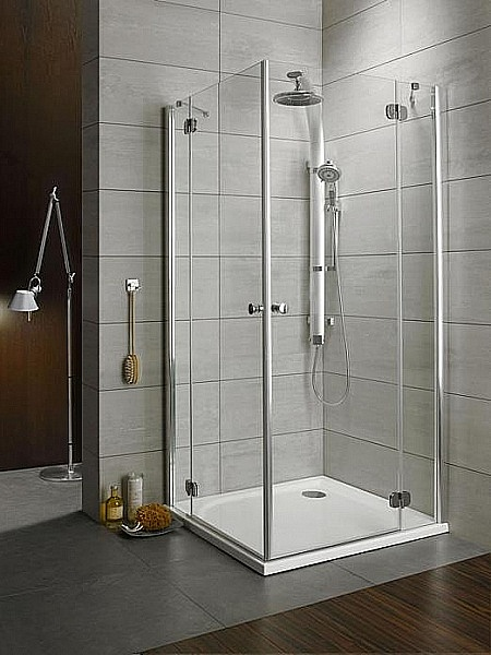 Душ для ванной комнаты из серой плитки