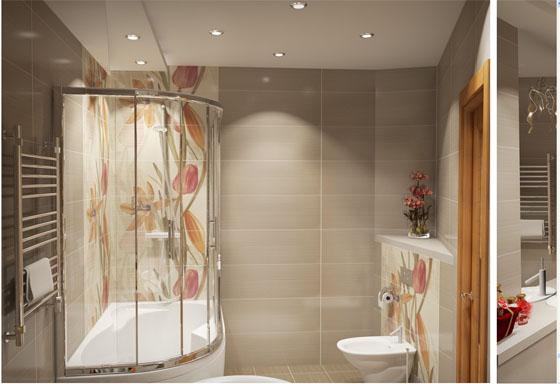 Керамическая плитка с цветами для ванной комнаты