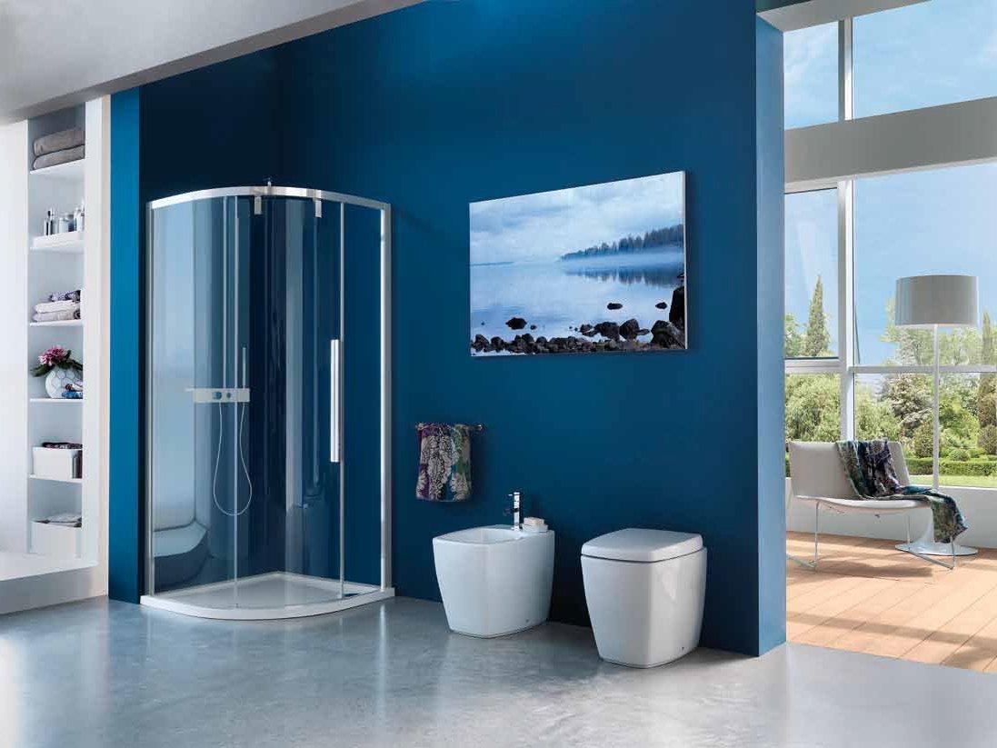 Ванная комната синего цвета в морском стиле
