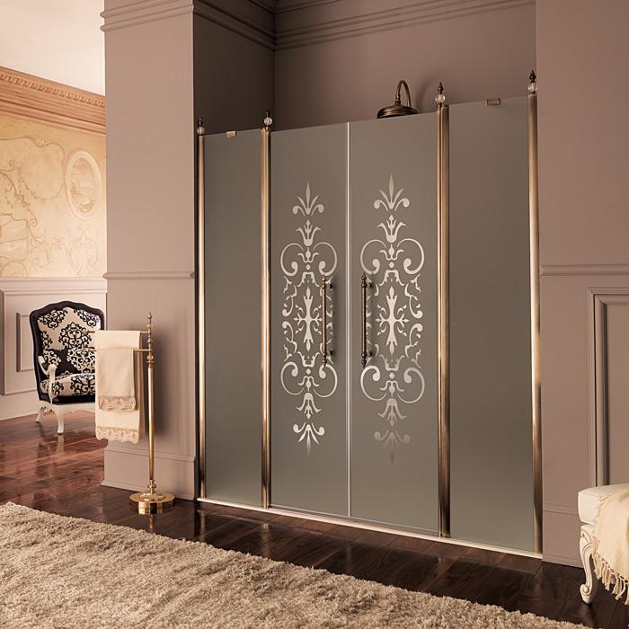 Стеклянный двери в ванной комнате в восточном стиле