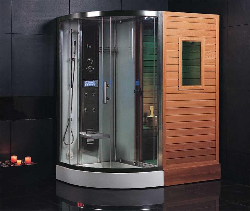 Ванная комната черного цвета с деревянными элементами
