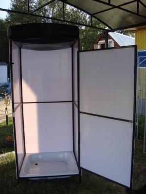 Душевая кабина из поликарбоната белого цвета
